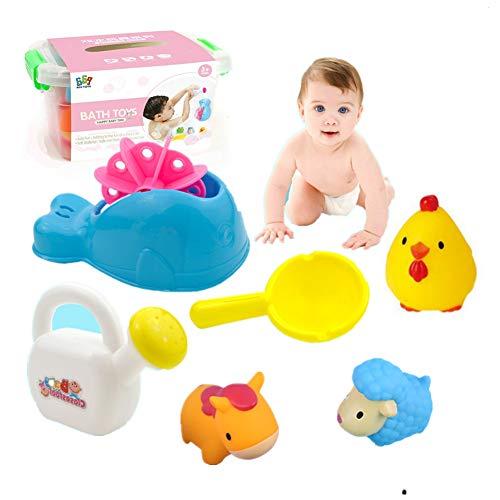 Felly Juguetes Bañera para Niños, 6 Piezas Almacenamiento de Juegos de Baño para Bebés Agua Piscina Baño Playa, Gran Regalo para Niños Niñas