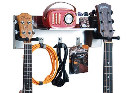 shinar Colgador de guitarra de acero inoxidable Soporte de montaje en pared para guitarra para guitarras acústicas y eléctricas con 3 estantes de pared de gancho(titulares de guitarra doble)