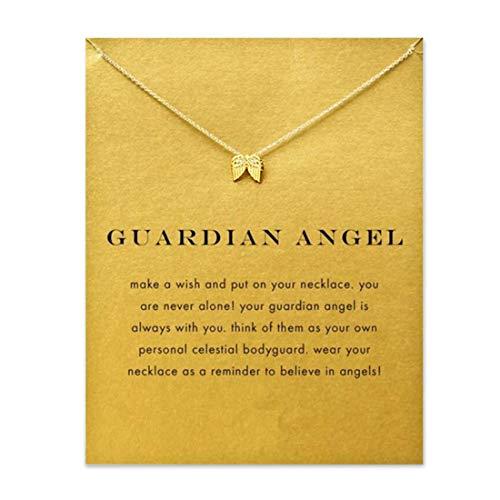 HUNO - Collar con Colgante de Herradura de Elefante de la Suerte, Cadena de clavícula, ala de ángel, Estrella hexagrama