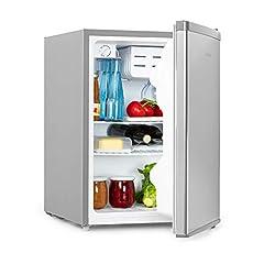 Klarstein Cool Kid – måltidskylskåp för drycker, minikylskåp, minibar, 66 liters volym, energieffektivitetsklass A+, 109 kWh/år, fristående, 45 x 63 x 51 cm (WxHxD), 42db, grå/rostfritt stål borstat