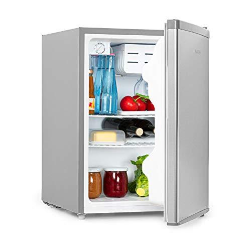 Klarstein Cool Kid - Getränkekühlschrank, Mini-Kühlschrank, Mini-Bar, 66 Liter Volumen, Energieeffizienzklasse A+, 109 kWh/Jahr, freistehend, 45 x 63 x 51 cm (BxHxT), 42db, grau/Edelstahl gebürstet