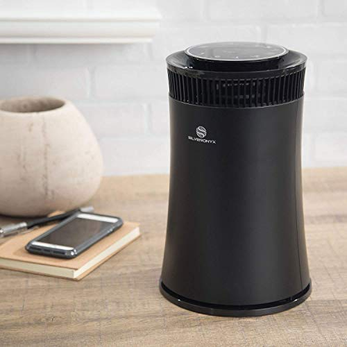SilverOnyx Air Purifier for Home with True Hepa Filter, Air Quality Monitor, Uv Sanitizer, Cleaner for Allergies, Pets, Smokers, Mold, Pollen, Dust, Quiet Bedroom Odor Eliminator - 500 sq ft. Black