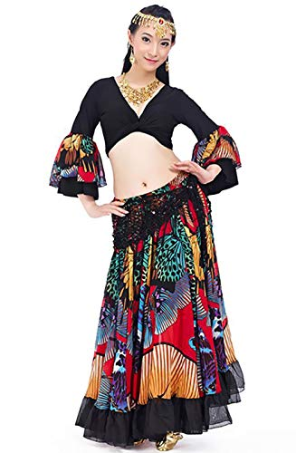 MEIGUI Disfraz De Danza del Vientre para Mujeres Gypsy Chiff Sour Falda Sistema Buenco Dancing Outfit Carnaval Red-One Size
