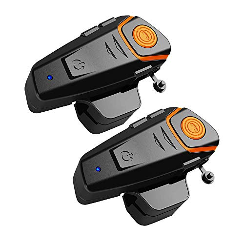 BT-S2 Motorcycle Bluetooth intercom, Snowmobile Helmet Bluetooth Headset, 1000m Helmet Bluetooth Communication System, Connect up to Three People, Two People Talk at The Same time (2 Pack)
