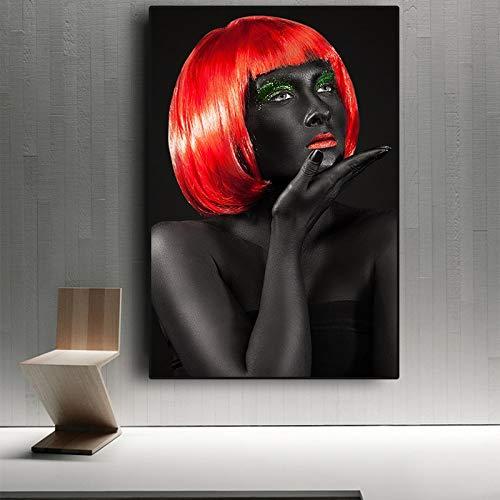 BailongXiao Póster e Impresiones de Mujer Africana roja Negra Estilo escandinavo escandinavo nórdico,Pintura sin Marco,60x90cm