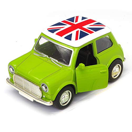 U DREAM Green Diecast Toy Car for Kids, Compatible BMW Mini Cooper 1:38 Diecast Play Vehicles Model,Classic Design Style, Pullback with Lights and Sounds.