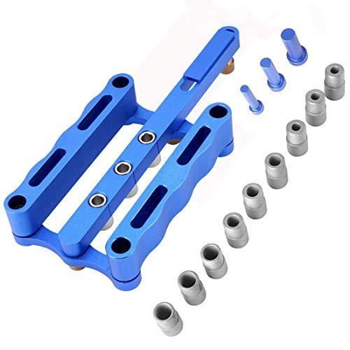 Shengshou ドリルロケータ ガイド 木工 掘削 DIY 工具 ドリルガイド アルミニウム合金 6/8 / 10mm 調整可能 ブッシング付き 木工ツールセット (ブルー)