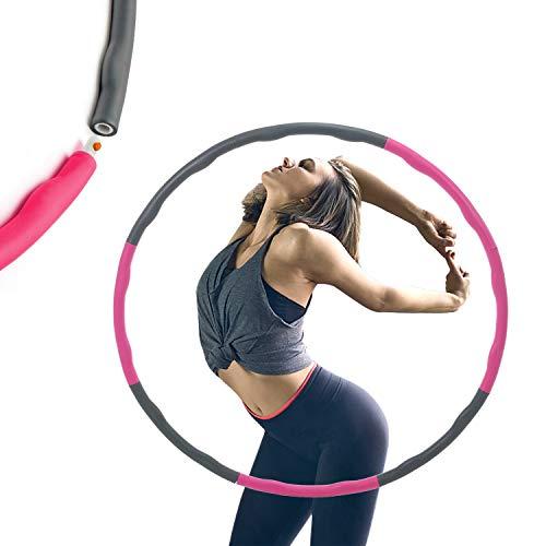 HINATAA Hula Hoop con Peso, 2.65 Libras, 39 Pulgadas de Ancho, 8 Secciones Desmontables, diseño Original Acolchado de Espuma, aro Hula Profesional para Fitness