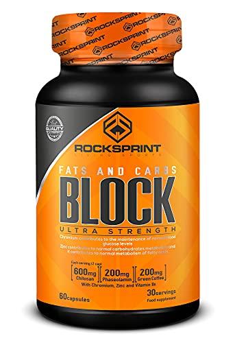 ROCKSPRINT | BLOCKER DI GRASSI E CARBOIDRATI | Sviste alimentari | Chitosano e Faseolamina | Block Fats & Carbs | 90 caps