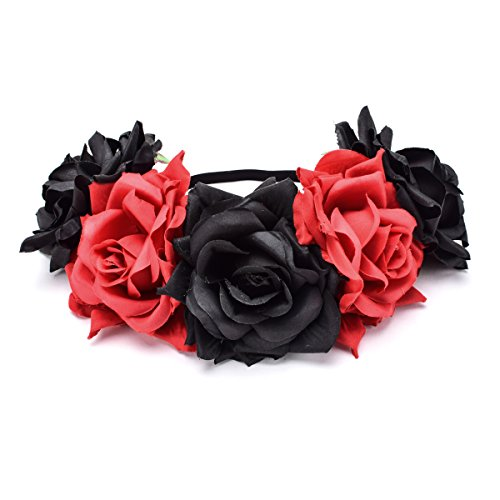 Love Sweety Rose Flower Headband Floral Crown Wreath Garland Halo (Red Black)