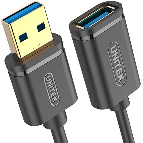 UNITEK Verlängerung Kabel 3 Meter USB SuperSpeed 3.1 Gen 1 │ USB A Stecker auf USB A Buchse │ Verlängerung für Drucker, Maus, Tastatur, Kartenleser │ 5Gbps, Plug&Play │ Vergoldete Kontakte, Schwarz