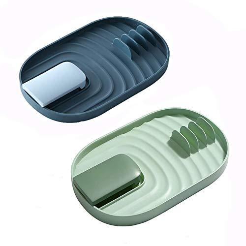 2 soportes para tapas de ollas, soporte para cucharas, bandeja para utensilios de cocina, evita goteos, soporte para tapa de olla y cuchara de cocina, soporte para utensilios de cocina