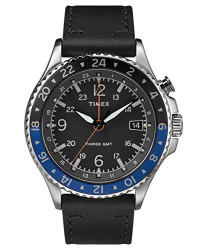 Timex Allied Three GMT Black Dial Stainless Steel Men's Watch TW2R43600