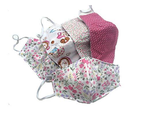 DoggyDolly Mund- und Nasenmaske für Kinder aus Baumwolle 5er Set - Stoffmaske/Mundbedeckung/Kindermaske