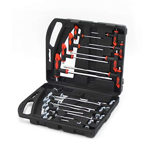 ROTTYI 16PCS Metric T-Handle Allen Wrench Set,Torx Star Key and Hex Key Set Screwdriver Spanner Set Performance Repair Tool with Storage Case