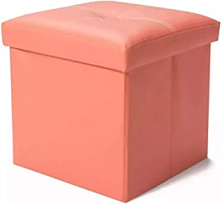 Tiemahun Organizer Folding Storage Ottoman Cube/Puppy Step/Footrest Stool/Toy Box Faux Leather Chest with Memory Foam Seat, Bench Seat Foot Rest Stool Coffee Table (Pink)
