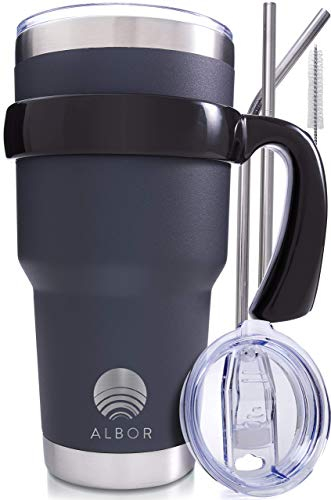 ALBOR Triple Insulated Stainless Steel Tumbler 30 Oz Graphite Coffee