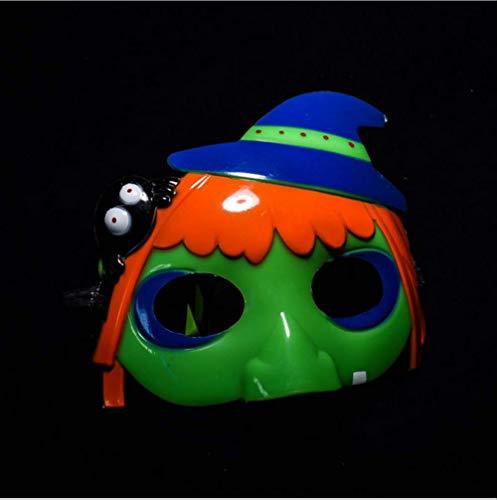 DFLMBV Máscara de Calabaza de Halloween Bruja de Bruja de Media Cara Maquillaje Proms Máscara de Dibujos Animados para niños