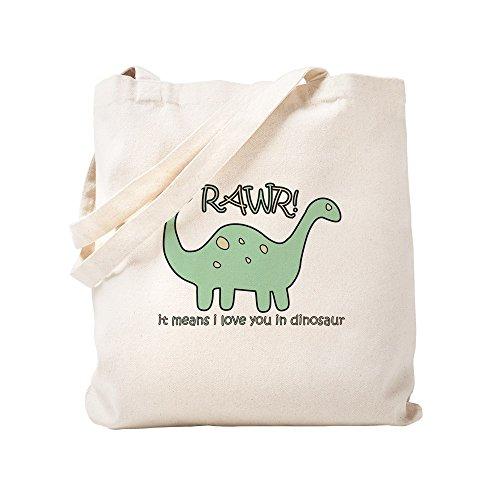 CafePress Dinosaur Rawr Natural Canvas Tote Bag Reusable Shopping Bag