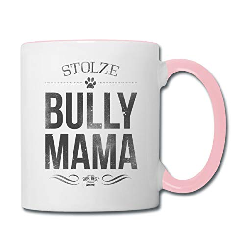 Stolze Bully Mama Bulldogge Frauchen Tasse zweifarbig, Weiß/Pink