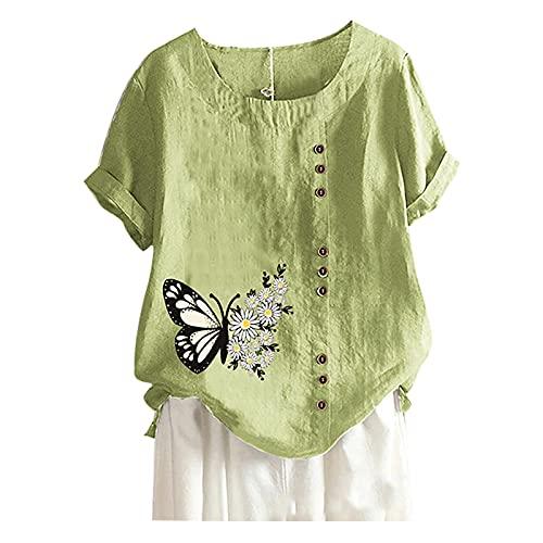 AMhomely Camisas y blusas para mujer con cuello redondo de manga corta con estampado de mariposas, blusa suelta, blusa tipo túnica, blusa para oficina