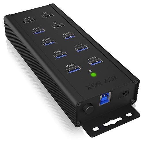 ICY BOX IB-HUB1703-QC3 7-fach USB 3.0 Industrie Hub mit Netzteil (12V/5A), 3 Ladeports, QC 3.0, Montage-Halterung, Aluminium Schwarz