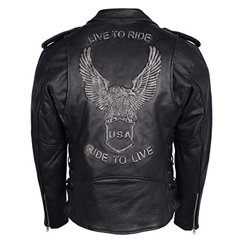 Men's Eagle Embossed Live To Ride - Ride To Live Classic Black Leather Motorcycle Biker Jacket (X-Large, Black)