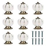 Kurtzy Pomos para Cajones Calabaza Blanco y Dorado con Tornillo (Pack de 8) 3,6 x 3,9 cm - Tiradores Vintage para Muebles en el Hogar y Oficina - Pomos Blancos Gabinete Cocina, Cajones y Alacena