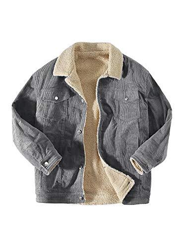 Bbalizko Men's Corduroy Sherpa Lined Trucker Jacket Slim Fit Button Down Stylish Winter Thermal Coats Outwear