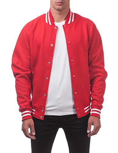 Pro Club Men's Varsity Fleece Baseball Jacket, Red/Red, 3X-Large
