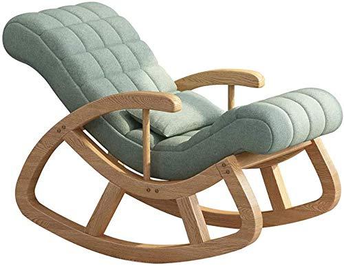 Massief houten schommelstoel Vrije stoel Home Lounge Chair Balkon Moderne minimalistische schommelstoel Dikke rugleuning Hoge elastische spons