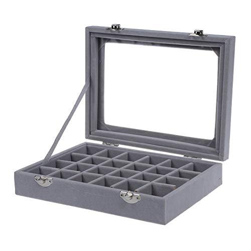 HYCy 24 Grid Display Box Almacenamiento de Joyas Pulsera de Vidrio Reloj Almohada Hebilla Gris