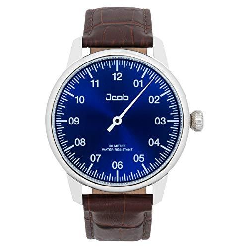 Jcob Einzeiger Uhr JCW003-LS01 Herren Blau Lederarmband Braun