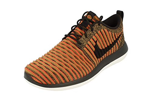 Nike Roshe Two Flyknit Mens Running Trainers 844833 Sneakers Shoes (UK 7 US 8 EU 41, Black White Max Orange 009)