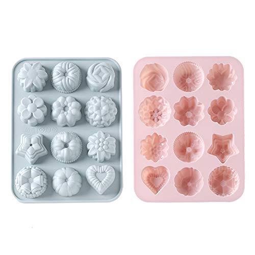 Etern 2 Stück Silikon-Blumen-Backform für Kuchen, Silikonform, 12-Cavity Silikon-Förmchen für Seife DIY Formen, für Kuchen Backen, Schokolade, Biscuit, DIY Handgemachte Seife (Pink, Grau-Blau)