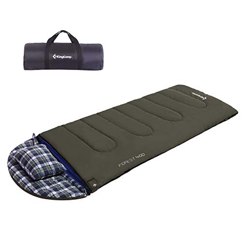 KingCamp Adult Flannel Sleeping Bag for Cold Weather with Pillow and Fleece Liner, Warm and Comfortable for Winter Camping, Hunting (-15 ℃)