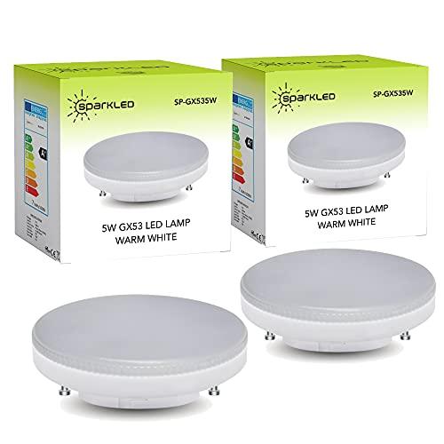 SparkLED™ - 2 lampadine LED GX53 | Guida professionale gratuita | equivalente a 40 W | bianco caldo | per luci sotto armadio |