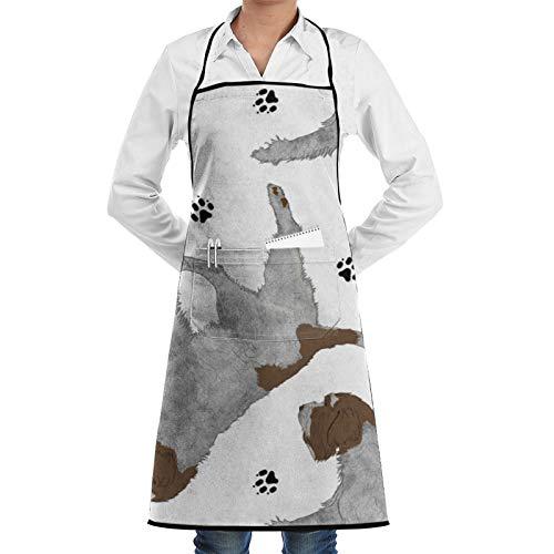Dyfcnaiehrgrf Trotting Wirehaired señalando Grifón y huellas huellas – Blanco mujeres hombres ajustable barbacoa cocina cocina delantal bolsillo impermeable a prueba de aceite