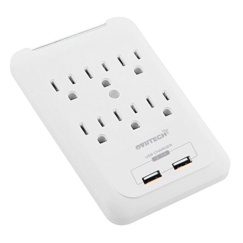 Multi-function Wall Mount Outlet Adapter, Surge Protector Charging Station, OviiTech Dual 2.1AMP USB Charging Ports,6 AC Socket Outlet Splitter Plugs,White,ETL Certified
