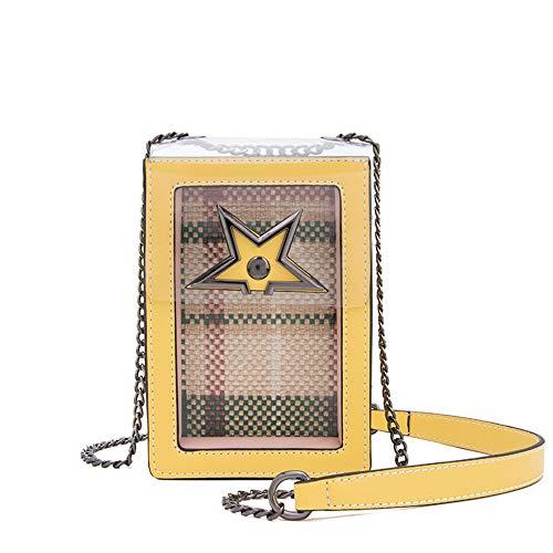 Bolsos de Mujer Color de caramelo de las mujeres exquisito vertical transparente de PVC impermeable de cuero de la PU hebilla magnética textura de la armadura de tela escocesa bolso de la muñeca cross