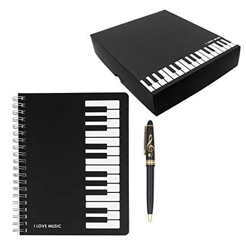 Adorable juego de papelería musical con melodía de piano, 1 cuaderno de notas musicales de piano negro con 1 bolígrafo de bola con diseño de clave de triple (estilo teclado de piano)