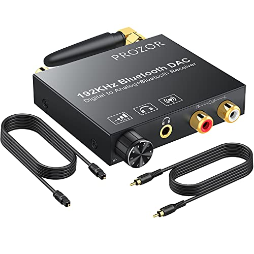 PROZOR 192kHz Digital to Analog Audio Converter with 5.0 Bluetooth Receiver, Optical Coaxial Bluetooth Digital Audio to Stereo Analog RCA & 3.5mm