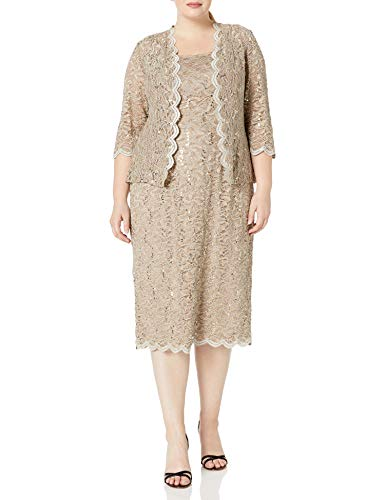 Alex Evenings womens Plus Size Tea Length Lace and Jacket Special Occasion Dress, Champagne, 14 Plus (Apparel)