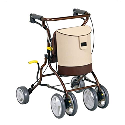 gujiu Folding trolley four-wheeled light shopping cart with padded seat and lower basket and vinyl submarine bag, height adjustable handle and back support