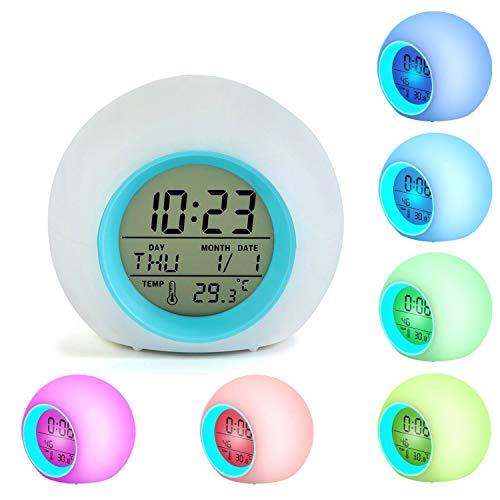 Kinder-LED-Wecker Wachen Sie Digitaluhren für Kinder Nachttischuhr 7 Farben, die Licht für Jungen Mädchen Schlafzimmer Dekor mit Innentemperaturkalender, Touch Control und Snoozing ändern (Blau)