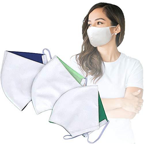 Gesichtsmaske wiederverwendbar | 3er Pack Mundschutz Maske waschbar bis 90°C | Unisex Stoffmaske weiß für Damen & Herren | Behelfsmaske hautfreundlich Maske Stoff Baumwolle
