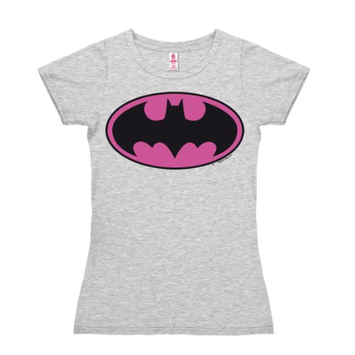 Logoshirt T-Shirt Donna Batman Logo Rosa - DC Comics - Il Supereroe - nel Colore - Grigio Melange - Design Originale Concesso su Licenza, Taglia M