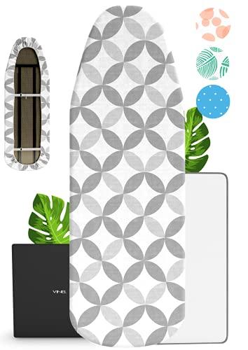VINEL Bügelbrettbezug für Dampfbügelstation 120x40 | ︎ kräftiger Gummizug ︎ 100% Baumwolle ︎ Komfort Polster | Nr.1 Bügeltischbezug 125x40 für Dampfbügeleisen