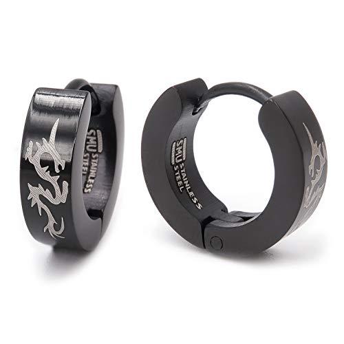 Pair Stainless Steel Tribal Dragon Black Hoop Earrings