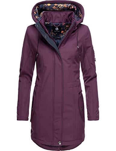 Peak Time Damen Mantel Softshellmantel Übergangsmantel L60026 Violett Gr. XL